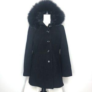 Anne Klein Black Wool Fur Trim Hooded Jacket Sz XL